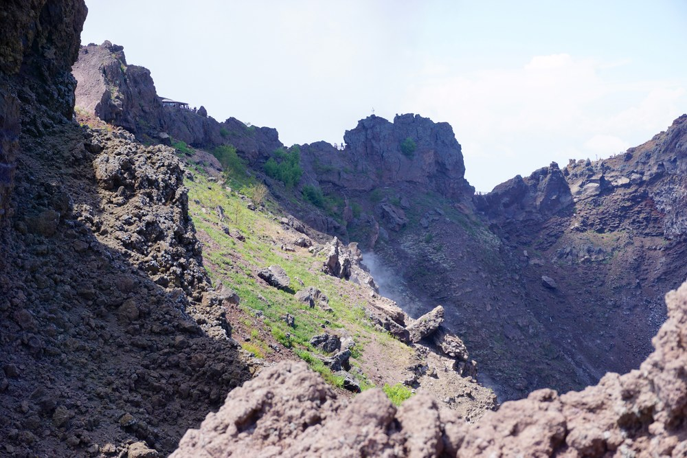 Mt vesuvius - view inside the crater - some days it steams more than others