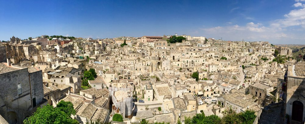 Matera - The beautiful limestone dwellings built into the side of the hill.