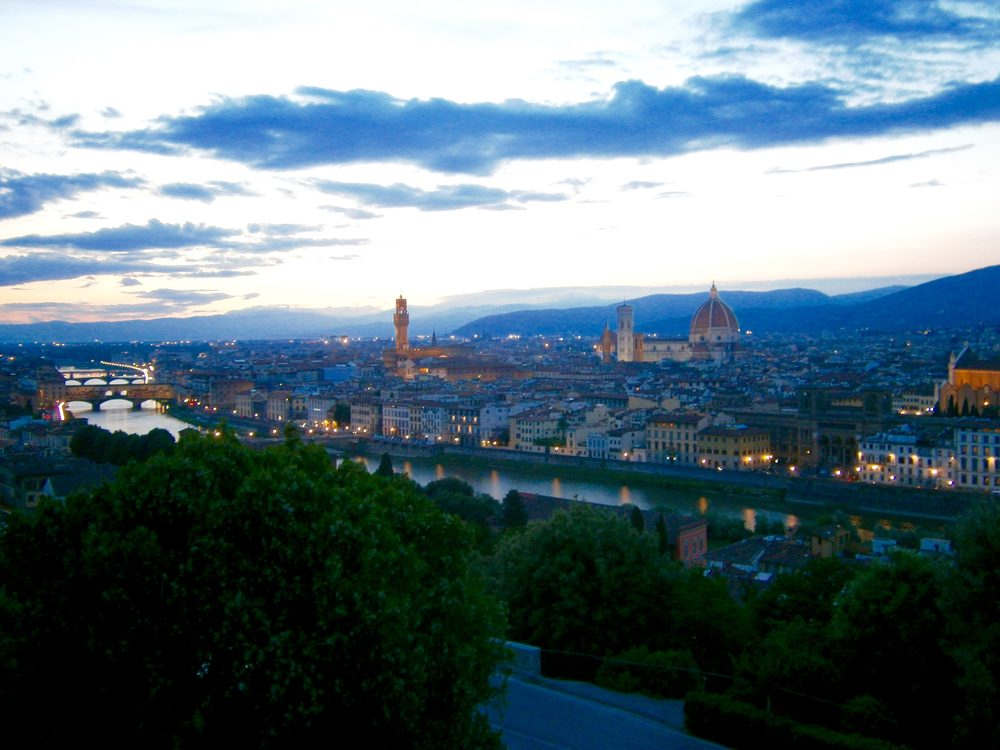 Florence: The view of Florence at sunset from Piazza Michelangelo.