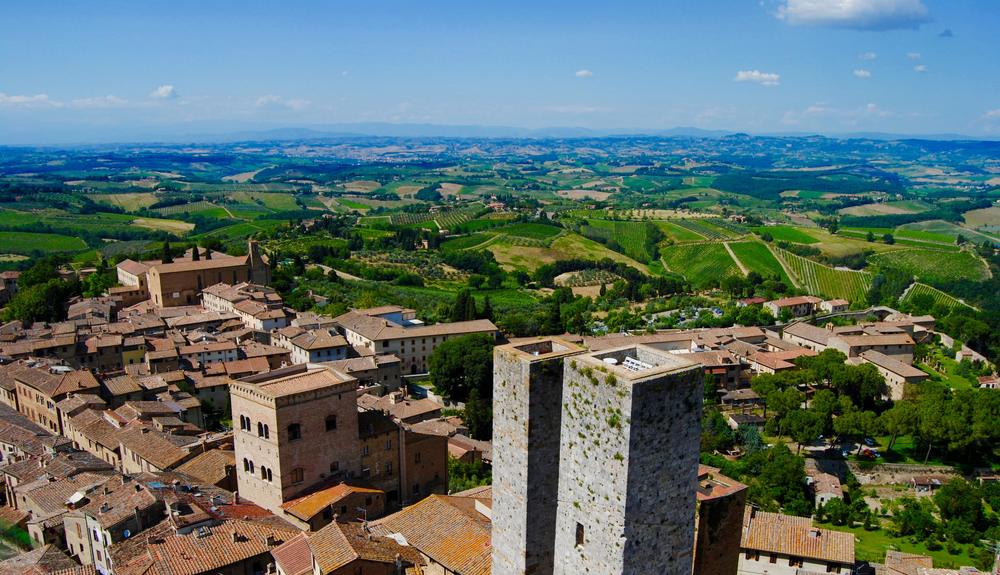 San Gimignano - The view from one of the many bell towers in San Gimignano of the Tuscan countryside.