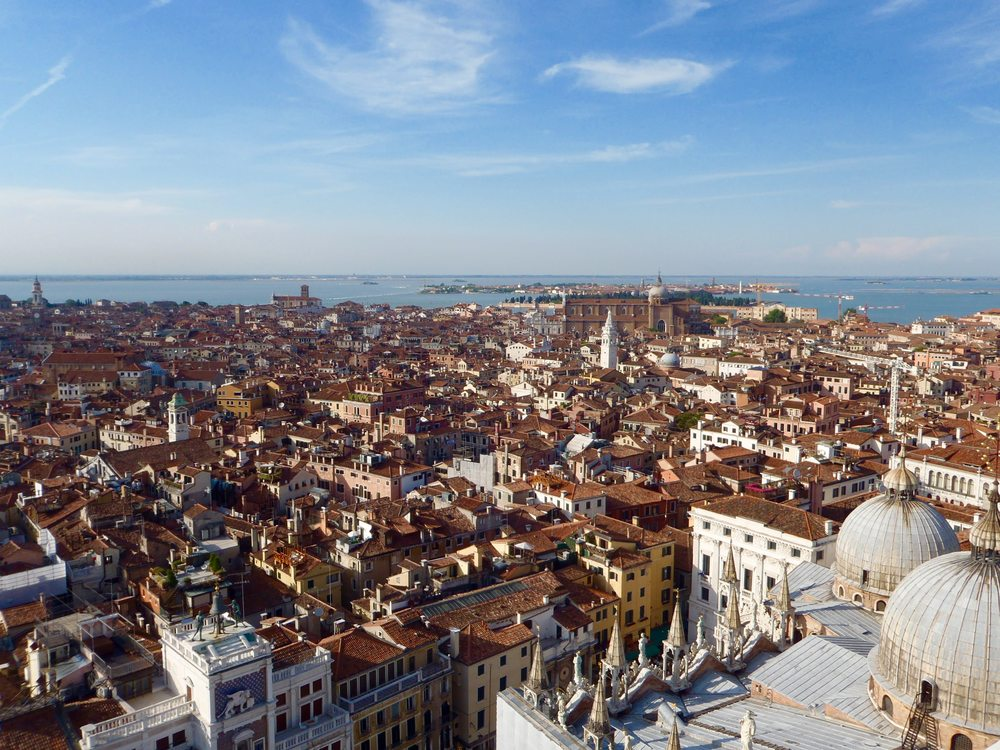 Venice: The views from the bell tower surprisingly hide the canals separating the islands of Venice.