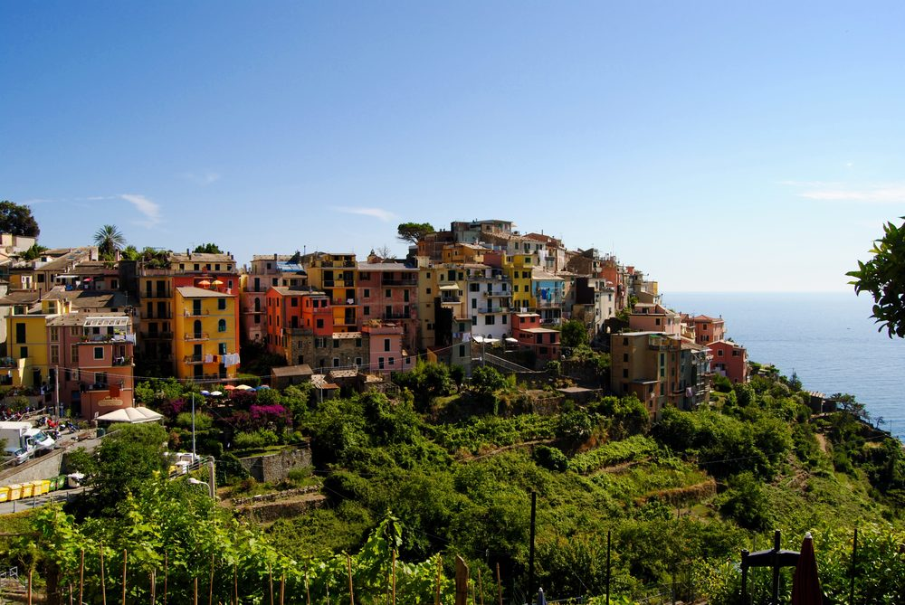 Cinque Terre: The view of Corniglia as you hike from Vernazza.