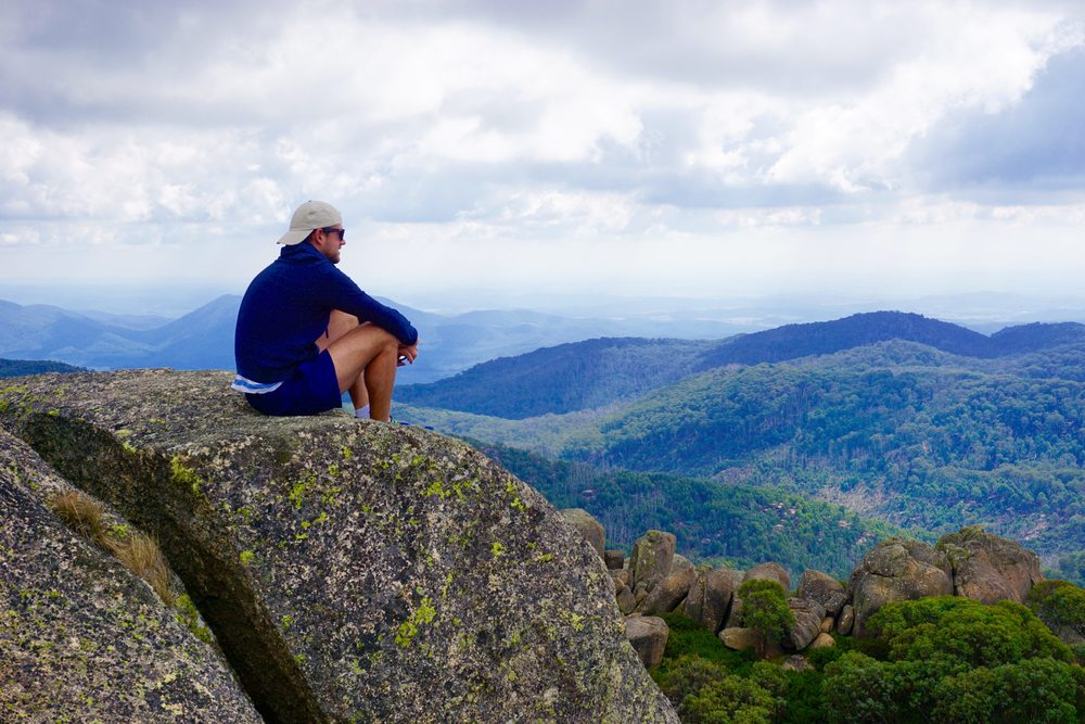 Relaxing at Mt Buffalo National Park - top of the Cathedral and Hump Track