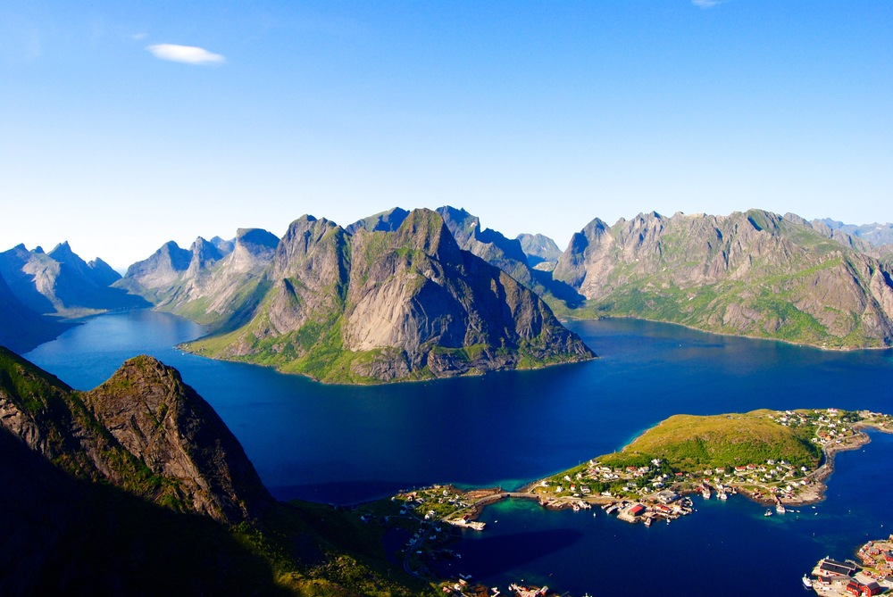 The view from the top of Reinebringen in the Lofoten Islands