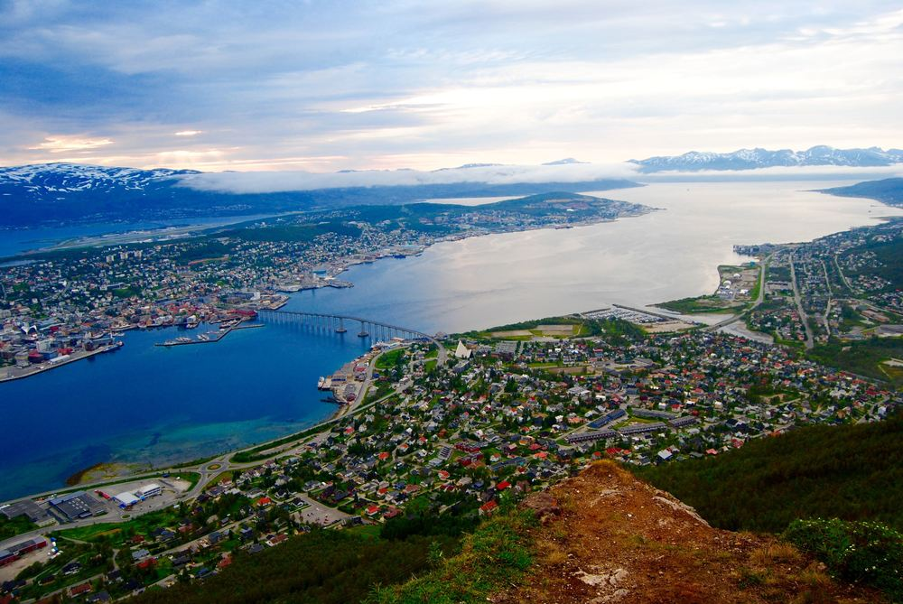 Views of Tromsø at mid-night from the top of Mt Storsteinen