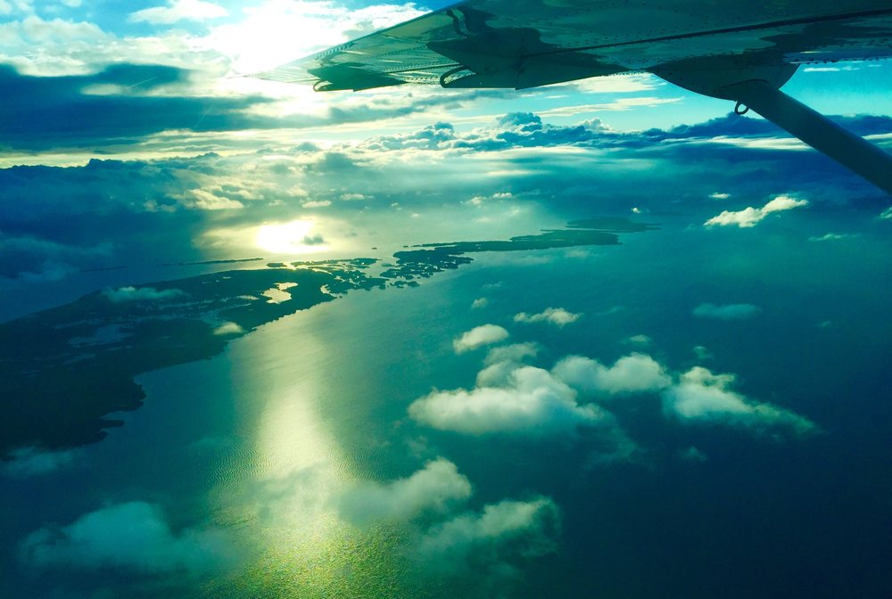 Flying from Belize City to San Pedro - Looking out over the Cayes along the Belize Coastline