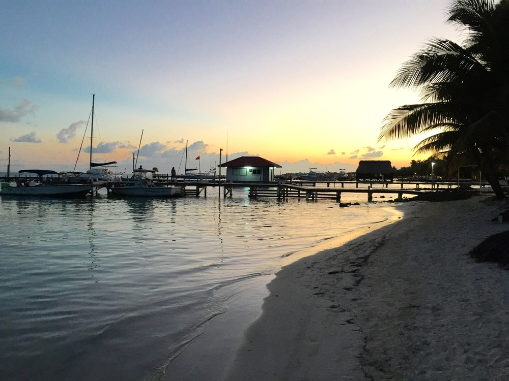 Sunset in San Pedro on Ambergris Caye