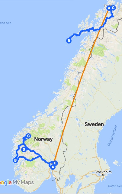 Norway Itinerary Map