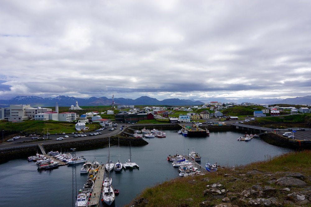 The quiet fishing village of Stykkisholmur