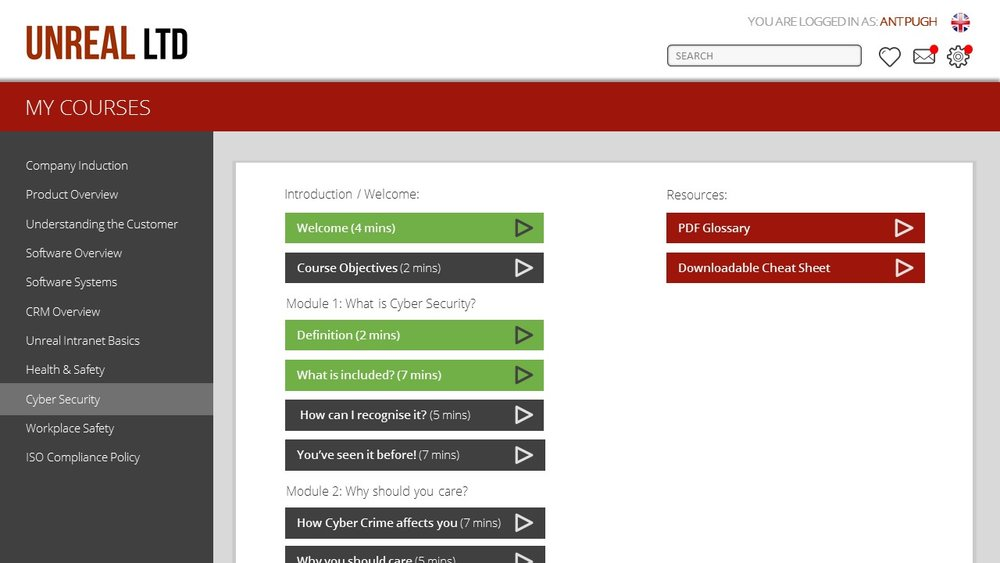 Visual progress within the LMS interface encourages users to carry on learning