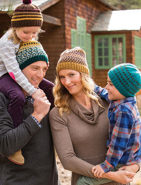 This photograph from the cover shows one of my favorite patterns from the book - the   Choose-Your-Own-Adventure Toque  !! Seriously, how fun! (Not to mention, perfect gift knitting project!)