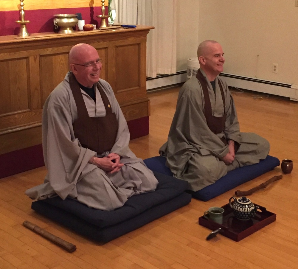 Jason Quinn, JDPSN (on the right), and Tom Johnson, former Abbot (on the left), giving one of our Thursday night dharma talks.
