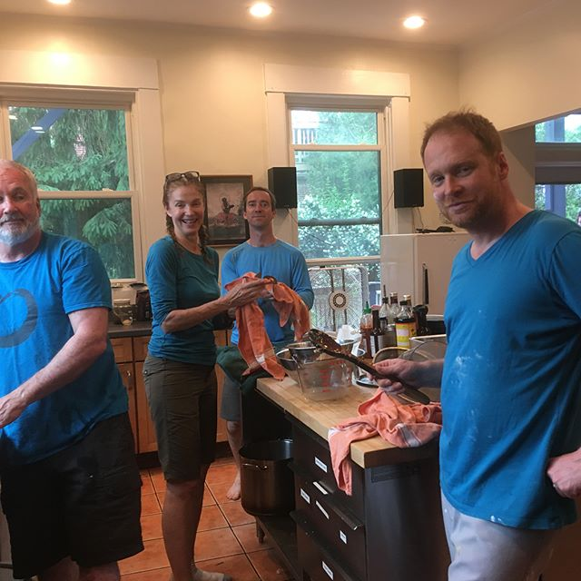 The Blue Crew - color coordinated action in the Zen kitchen!