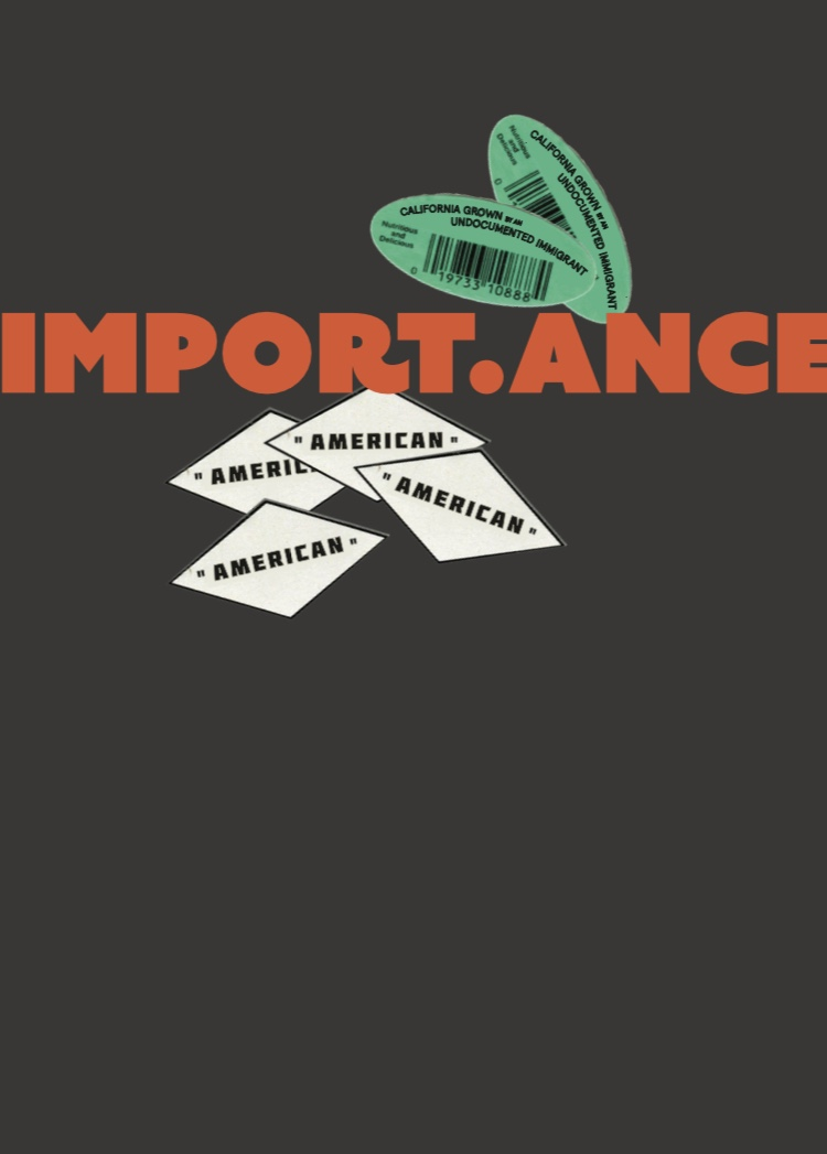 "trade book cover, ""import.ance"" guerrilla advertising campaign promoting knowledge regarding USA dependence on immigrant labor and global imports to maintain agricultural and consumer standards, 2018"