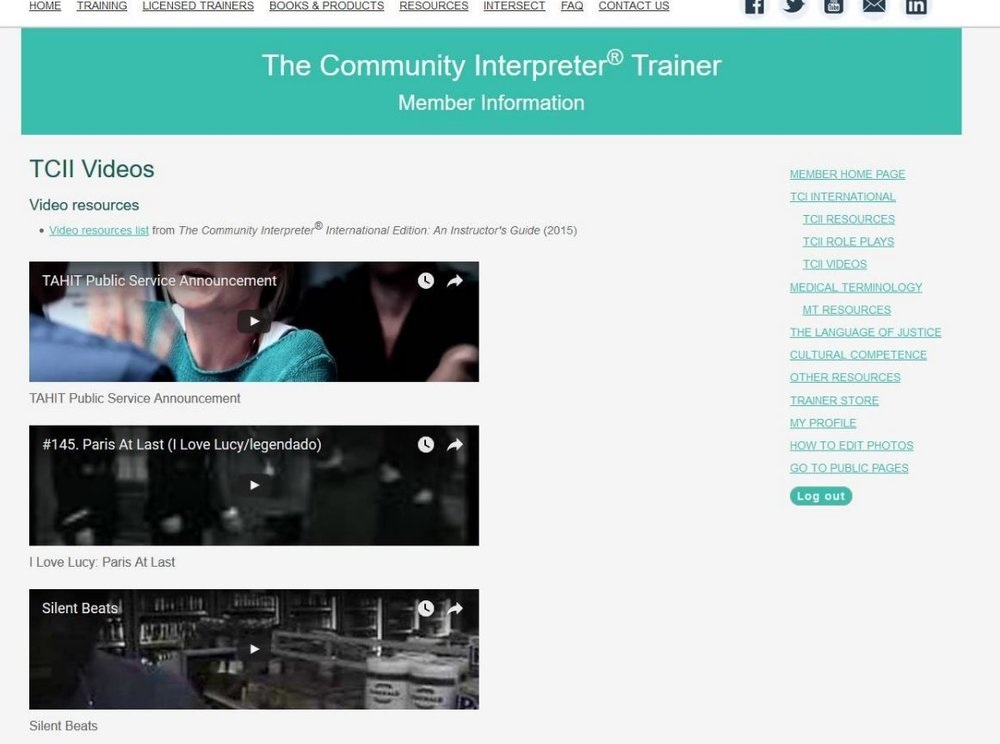 Video resources page for licensed trainers