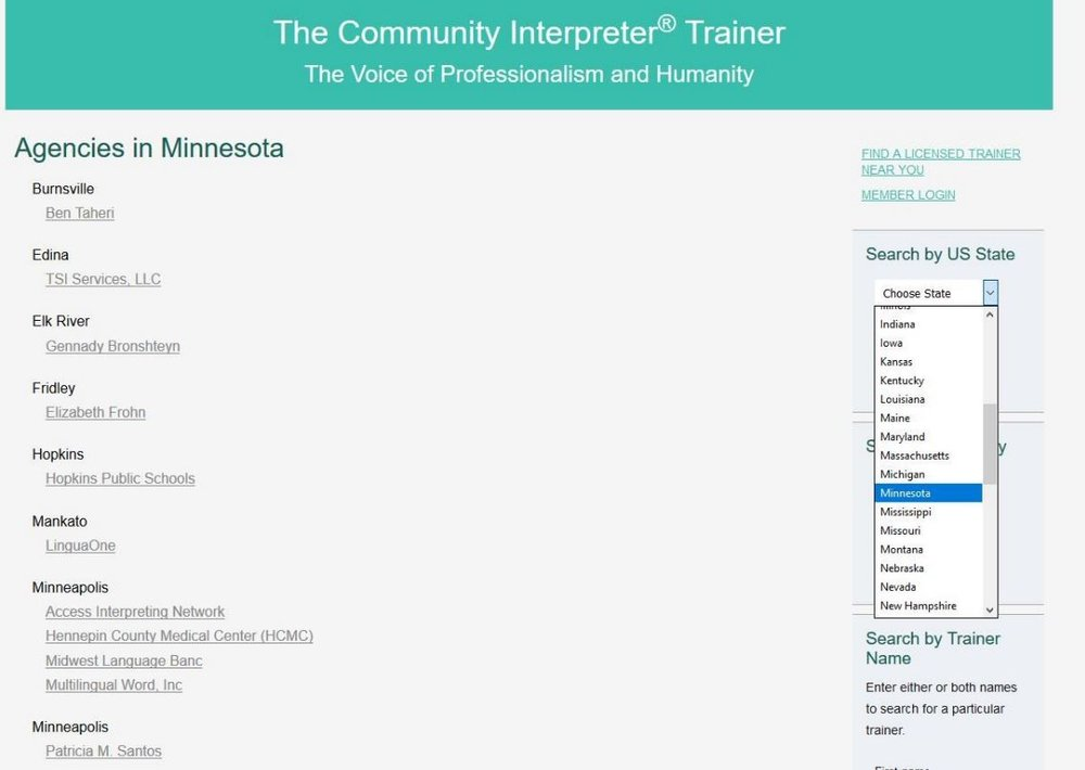 Prospective trainees can find licensed trainers in their area