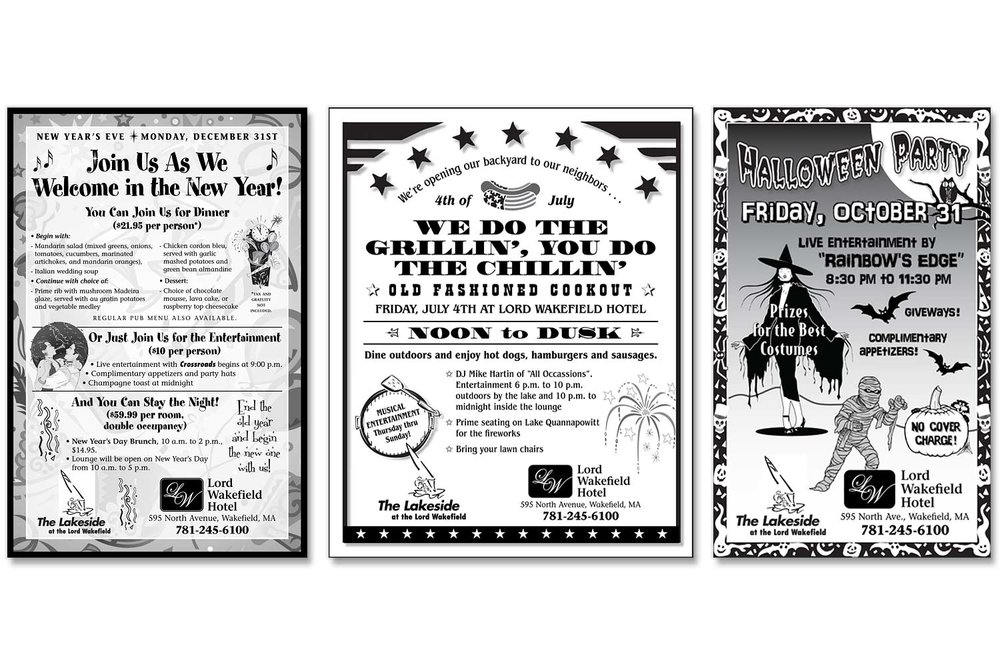 "Newspaper Holiday Ads, 7.5"" H."