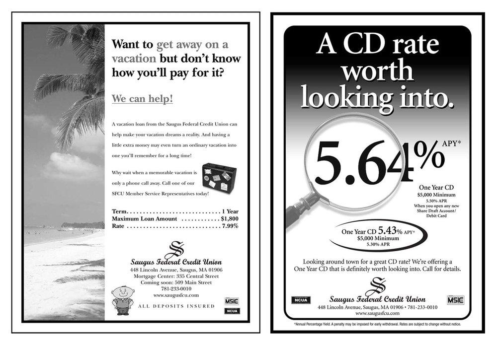 """Newspaper Ads, 9"""" H."""