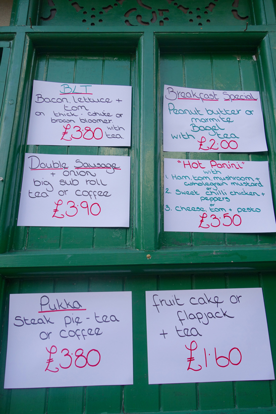 Food for sale at the cabmens' shelter london