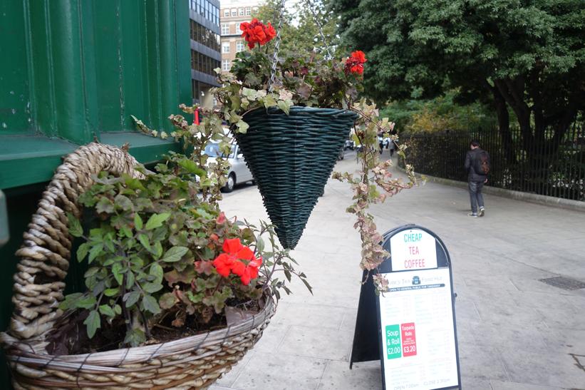 Hanging baskets cabmens' shelter