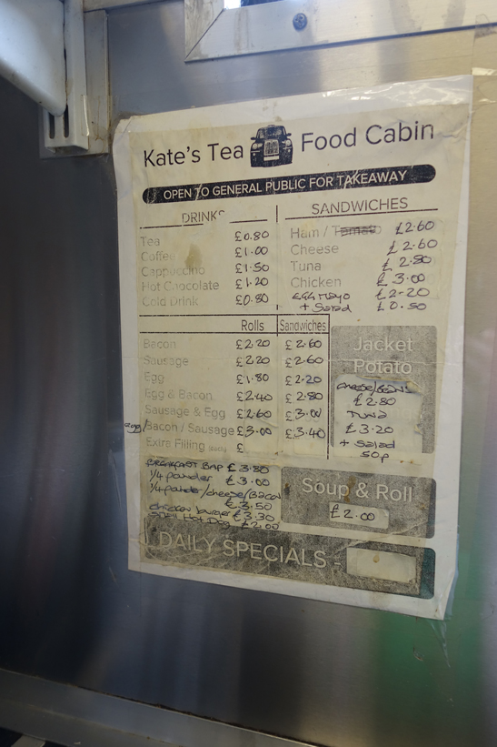 price list at the cabmens' shelter