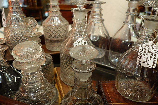 detail of decanters for sale at Fisher London