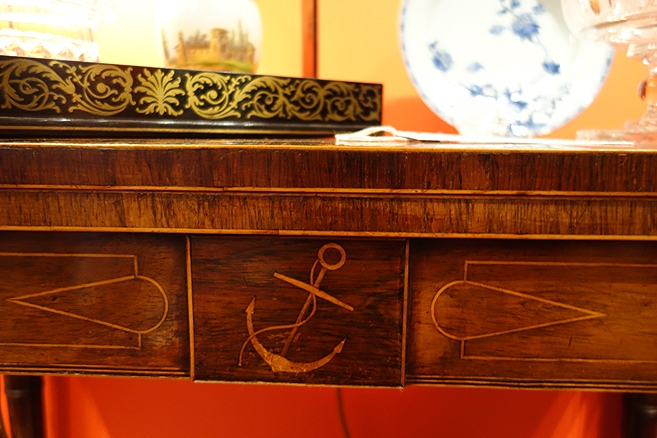 Anchor motif on a regency card table