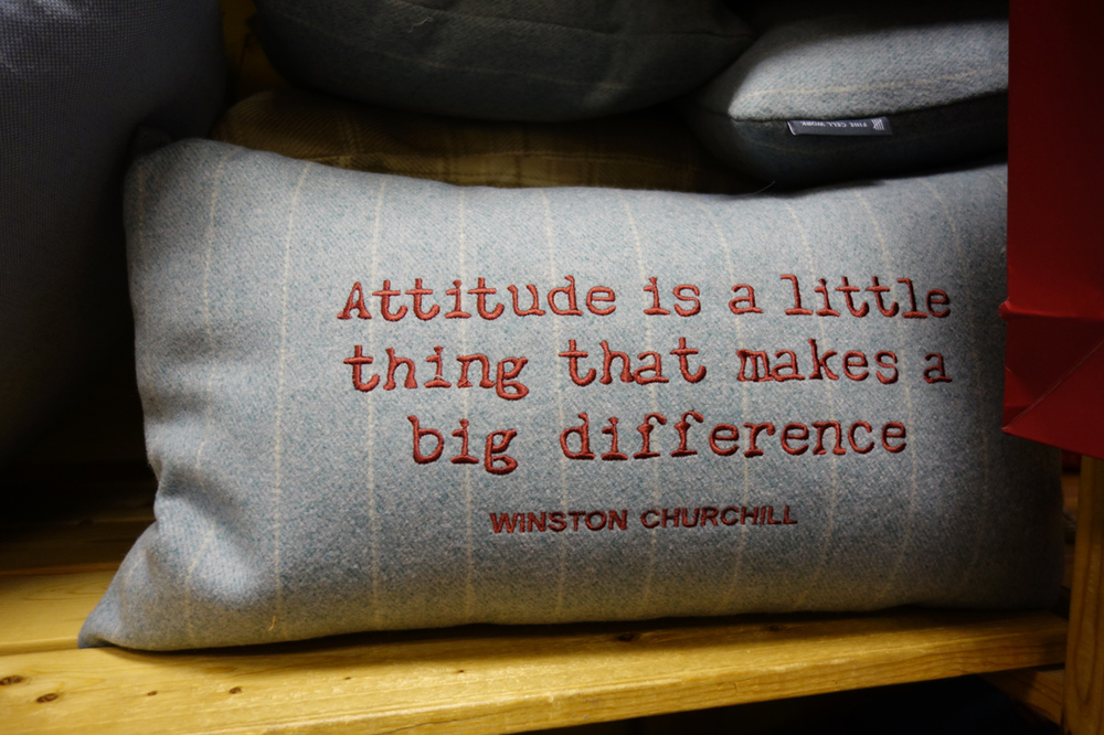 Winston Churchill quote cushion