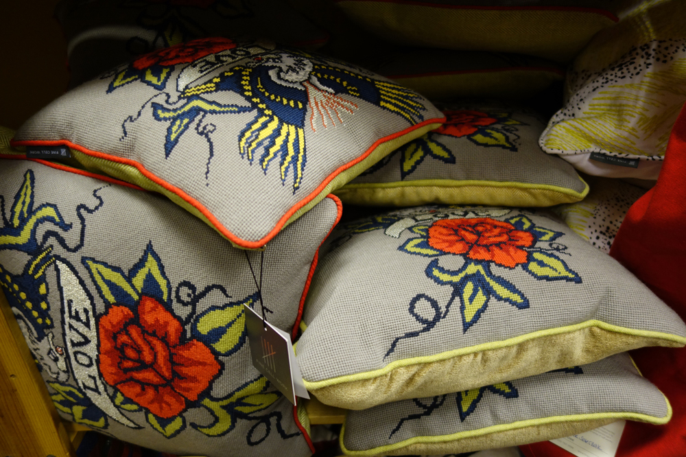 tattoo style Fine Cell Work cushions