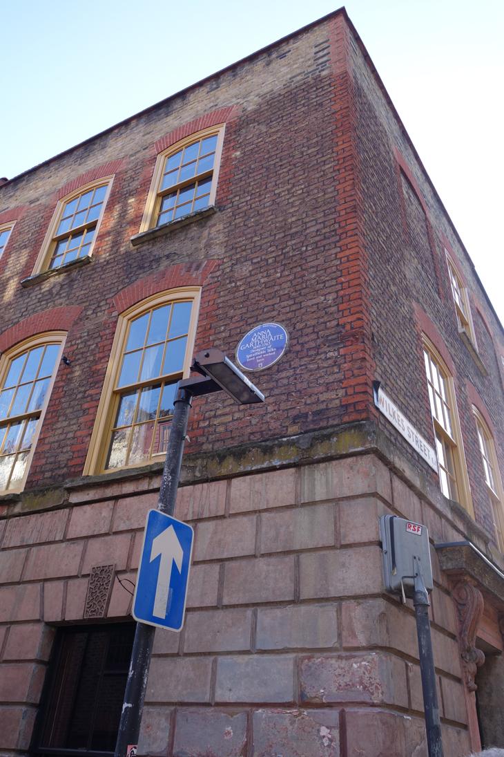 The blue plaque outside Rupert Hunt's Spitalfield's home
