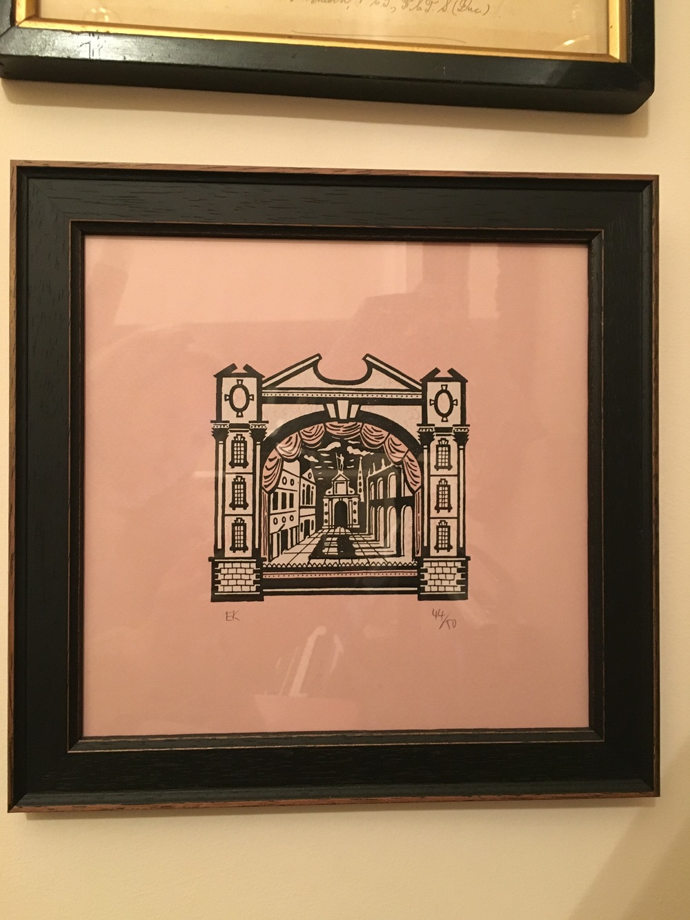 Ed Kluz print with pink background