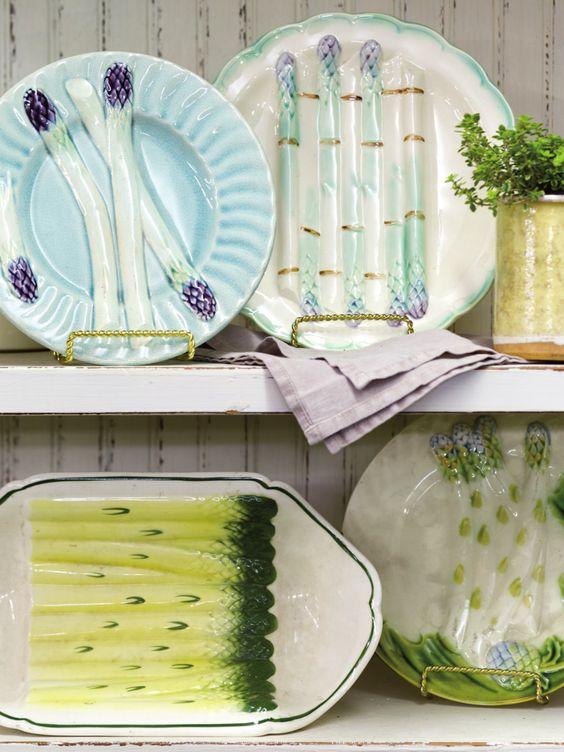 French Fa�ence Asparagus Plates