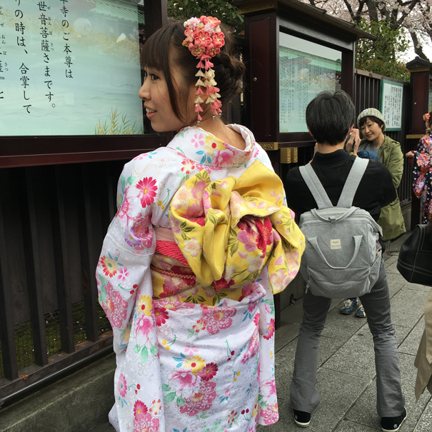 chinese girl dressed in a kimono in tokyo