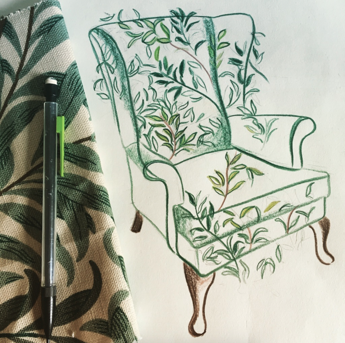 illustration a Parker knoll chair by Isla Simpson with willow bough pattern