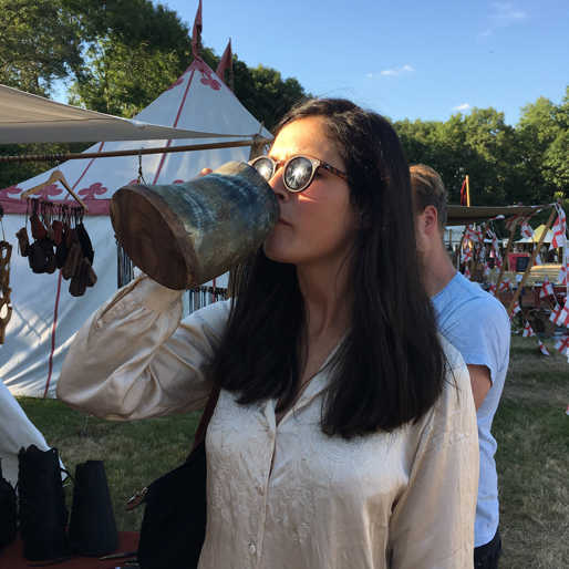 Kasia drinking medieval style