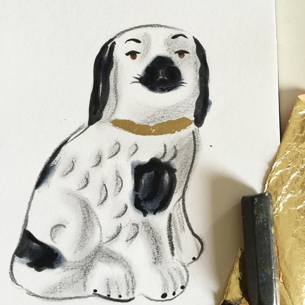 Staffordshire spaniel figurine drawn by Isla Simpson