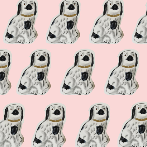 Staffordshire spaniels repeat drawn by Isla Simpson
