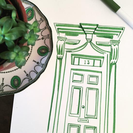 13 Princelet Street front door sketched by Isla Simpson
