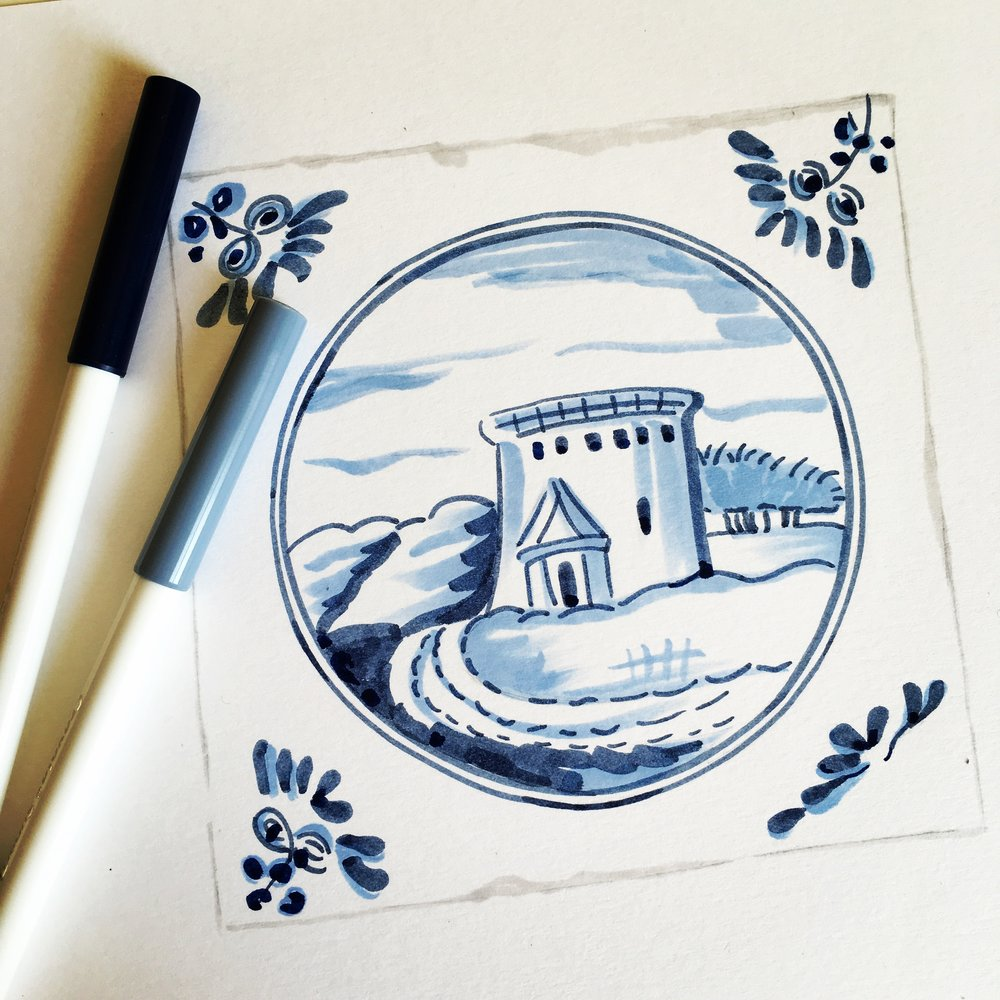 my illustration Inspired by the delft tile fireplaces seen in 13 princelet Street.