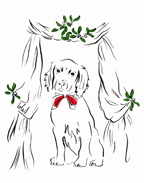 Spaniel with Mistletoe