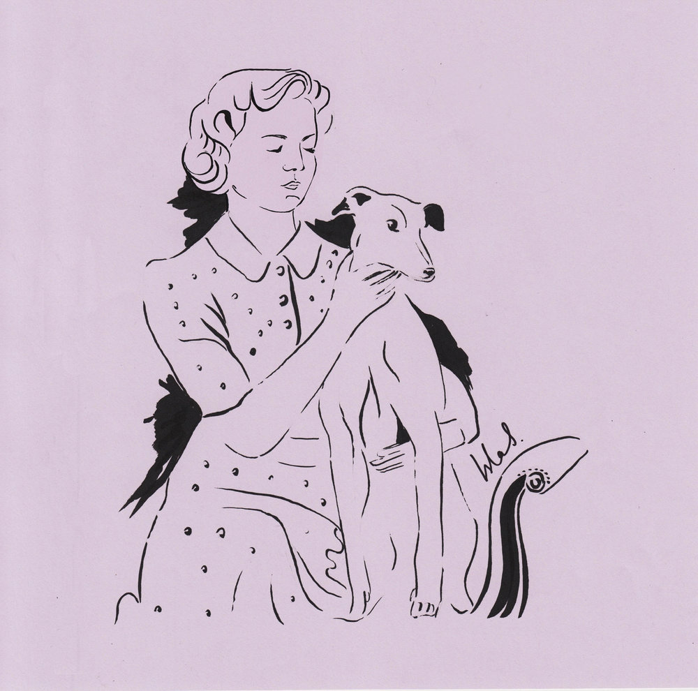 The Duchess of Devonshire  with her whippet illustrated by Isla Simpson