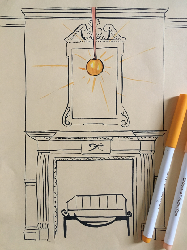 witch ball over fireplace drawn by Isla Simpson