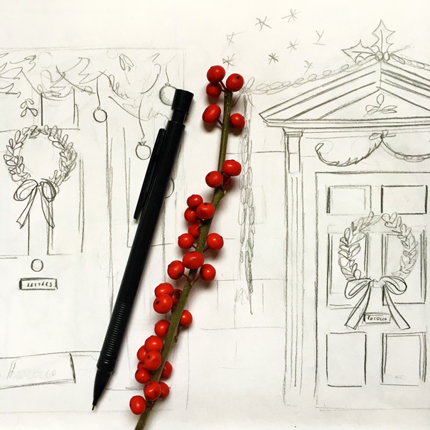 Rococo London x Isla Simpson sketches for bespoke Christmas card