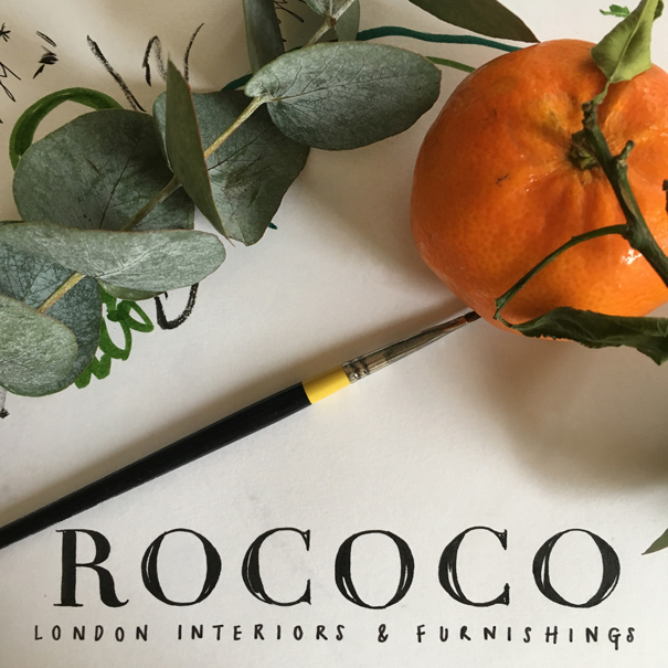 Rococo London x Isla Simpson Christmas card branding and sketching
