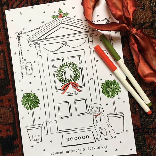 Rococo London x Isla Simpson bespoke Christmas card artwork