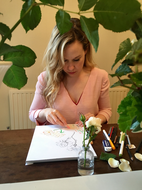 Isla Simpson illustrating Margaret Merril roses grown by The Real Flower Company