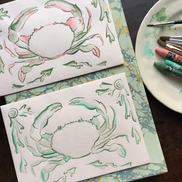 Crab envelope design by Isla Simpson