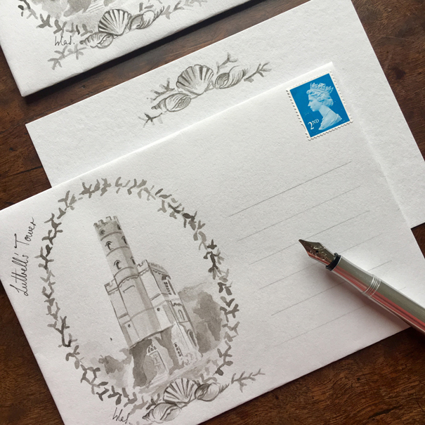 Hand painted envelope featuring Luttrell's Tower by Isla Simpson