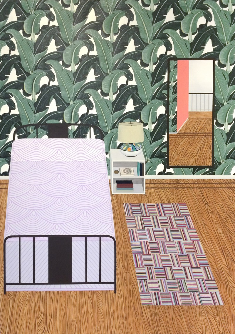 "Becky Suss, ""Bedroom (Rubáiyát of Omar Khayyám)"" (2015), oil on canvas, 84″ by 60″. Courtesy the artist and Fleisher/Ollman, Philadelphia, Photo by Claire Iltis."