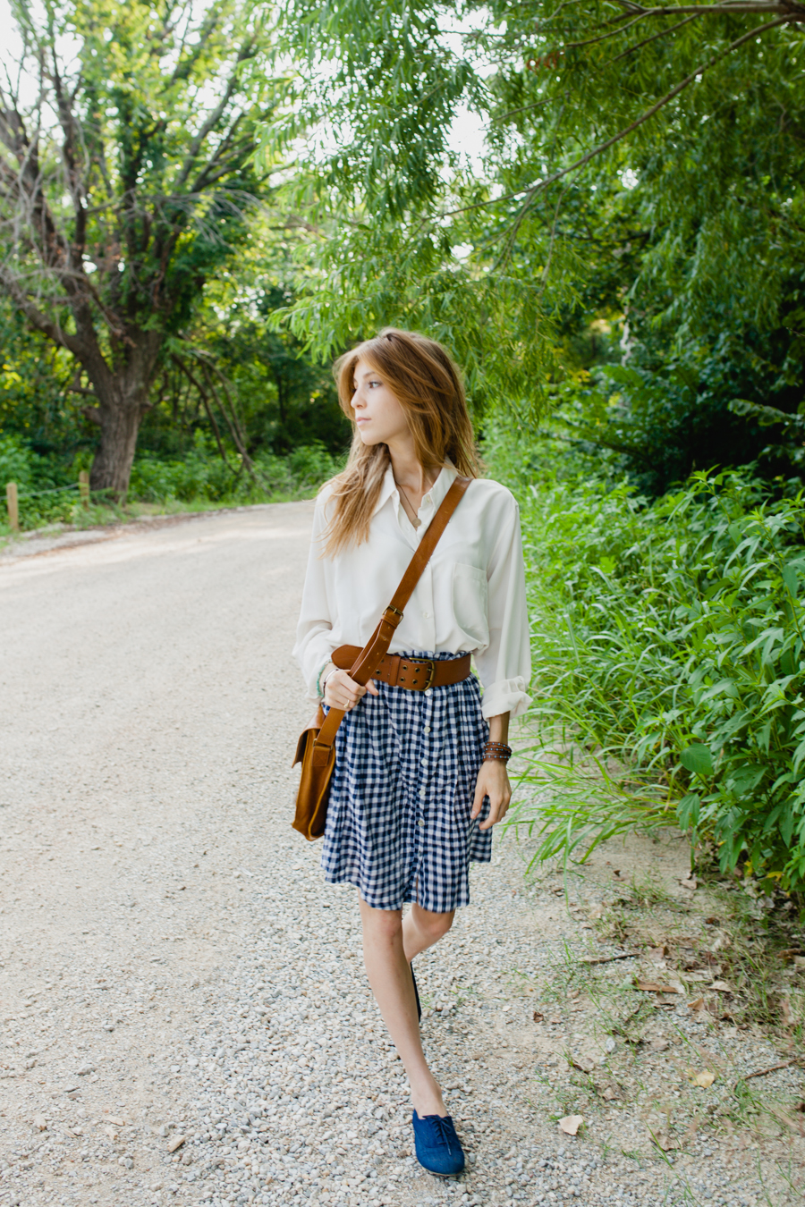 Blue Checked Picnic Skirt